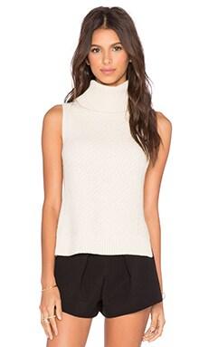 LEO & SAGE Sleeveless Turtleneck Sweater in Winter White