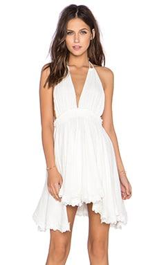 LoveShackFancy String Halter Mini Dress in White