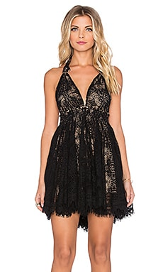 LoveShackFancy Halter Mini Dress in Black