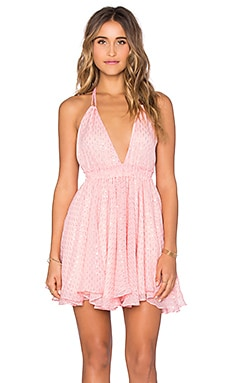 LoveShackFancy Halter Mini Dress in Melon