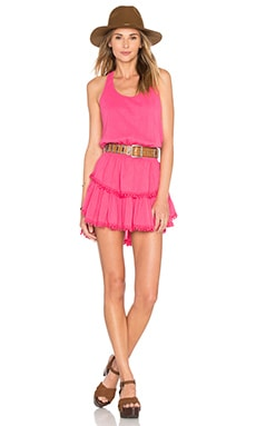 LoveShackFancy Ruffle Racer Mini Dress in Azalea