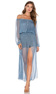 LoveShackFancy Smocked Maxi Dress in Denim