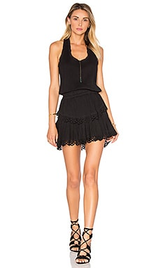LoveShackFancy Ruffle Racer Mini Dress in Black