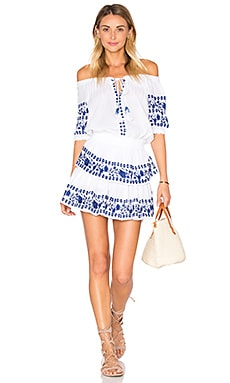 Poppy Dress in White & Blue