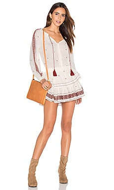 LoveShackFancy Popover Ruffle Mini Dress in Antique White