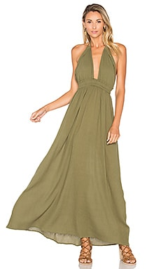 LoveShackFancy String Love Maxi Dress in Army