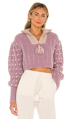Jonae Cropped Mock Zip-Up Sweater LoveShackFancy $425 NEW