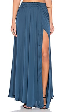LoveShackFancy Fancy Slit Maxi Skirt in Petrol