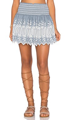 LoveShackFancy Beach Mini Skirt in Denim