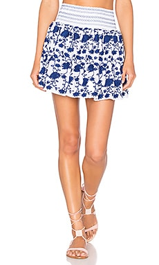 LoveShackFancy Beach Skirt in White & Blue