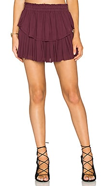 Ruffle Mini Skirt in Merlot