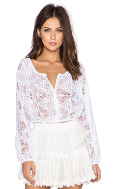 LoveShackFancy Button Down Popover in White