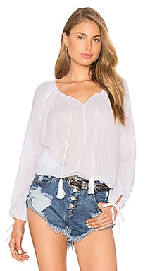 LoveShackFancy Peasant Blouse in White