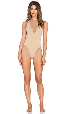 Les Coquines Lara Mesh Swimsuit in Cafe