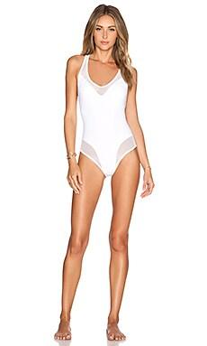 Les Coquines Valerie Mesh One Piece Swimsuit in Blanc