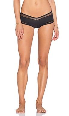 Les Coquines Lana Mesh Cheeky Bikini Bottom in Noir
