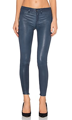Level 99 Leather Skinny in Navy