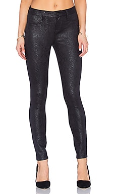Level 99 Janice Mid Rise Ultra Skinny in Black Python Print