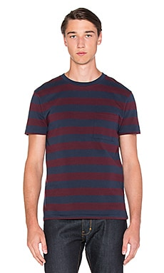 LEVI'S: Made & Crafted Classic Tee in Tawny Port & Navy Courage Jacquard