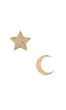 Lisa Freede Micro Pave Moon & Star Stud Earrings in Gold