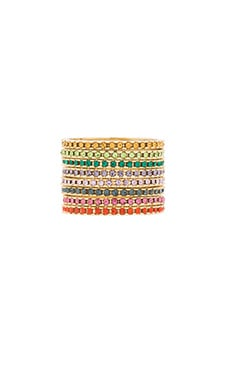 Lisa Freede Eternity Ring Set in Yellow Gold & Rainbow