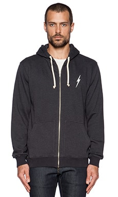 Lightning Bolt Forever Triblend Zip Hoodie in Moonless Night