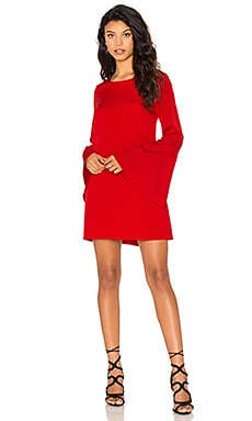 Red Dress with Flutter Sleeves by Likely