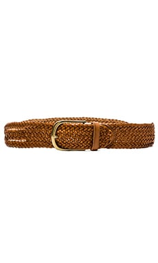 Linea Pelle Side Twisted Braid Vintage Belt in New Cognac