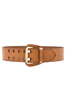 Linea Pelle Shielded Buckle Waist Belt in Cognac