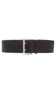 Linea Pelle Double Prong Feathered Waist Belt in Black
