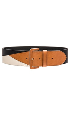 Linea Pelle Colorblock Belt in Black, Nutmeg & Vanilla