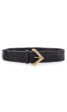 Linea Pelle Vintage Crosshatch Hip Belt in Black & Antique Brass