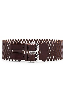 Linea Pelle Vintage Mesh Perforated Waist Belt in Tmoro & Nickel