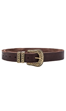 Linea Pelle Vintage Double Keeper Hip Belt in Tmoro & Brass