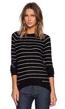 Line Gwen Stripe Sweater in Caviar & Snowfall