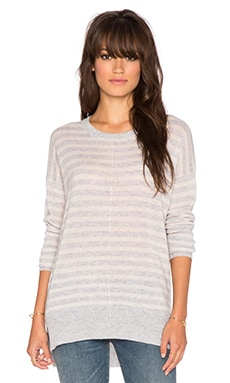 Line Warner Stripe Sweater in Heather Grey & Rosewater