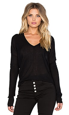 Line Vernon V Neck Sweater in Caviar