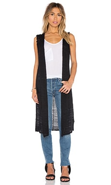 Stephanie Long Hooded Vest in Caviar