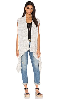Line Printed Vest in White Water & Chalk