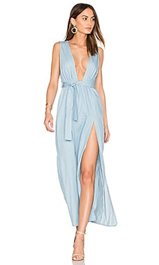 Esperanza Plunging Dress in Chambray