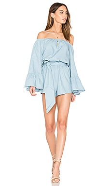 Del Rio Off Shoulder Romper in Chambray