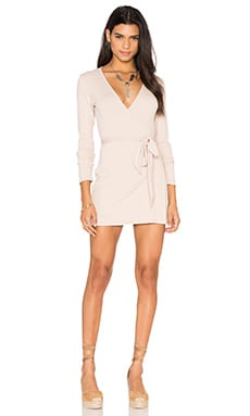 Lisakai Rib Wrap Dress in Tan