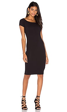 Lisakai Short Sleeve Ribbed Dress in Black