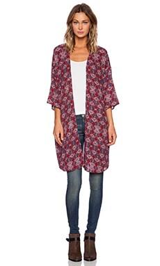 Lisakai Long Kimono in Red Print