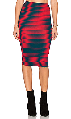 Striped Pencil Skirt en Grenat