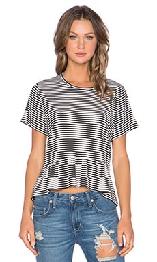Lisakai Ruffle Top in Black Stripe