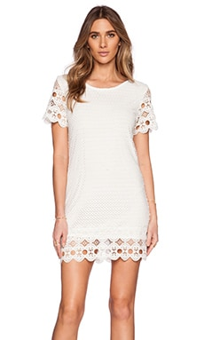 LIV Mary Eyelet Shift Dress in Ivory