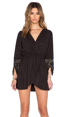 LIV Cross Over Tunic Dress in Black