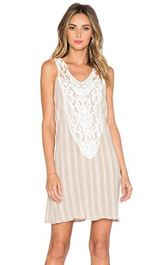 LIV Hailey Lace Bib Dress in Matte Beige