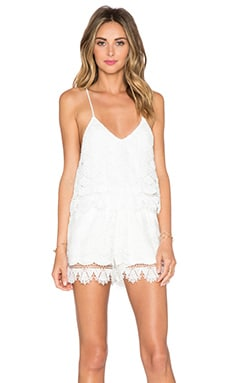 LIV Kate Tiered Cami Romper in White
